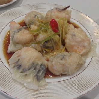 Prawn and Mushroom Dumplings in a Lemon Grass, Ginger, Chilli and Soy Sauce dressing