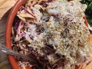 Lahanosalata Cabbage salad, balsamic, honey, Kefalograviera cheese
