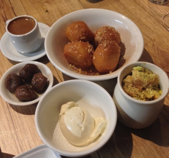 Loukoumathes (Top Centre) Hellenic doughnuts, honey, cinnamon, walnuts Risogalo Rice pudding, salted caramel, almond shortbread crumble, pistachio