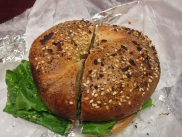 Everything Bagel crusted with sesame seeds, poppy seeds, garlic and herbs
