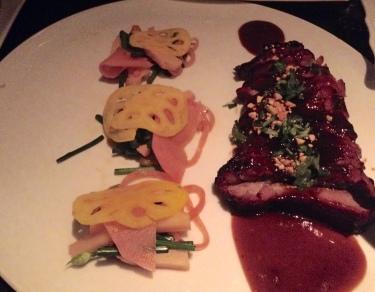 Char Siu Roast Pork with spicy bamboo shoots, moo shu pancakes
